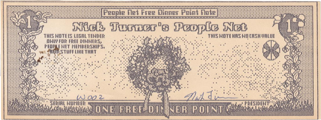 Scan of a one-FDP People Net Free Dinner Point Note